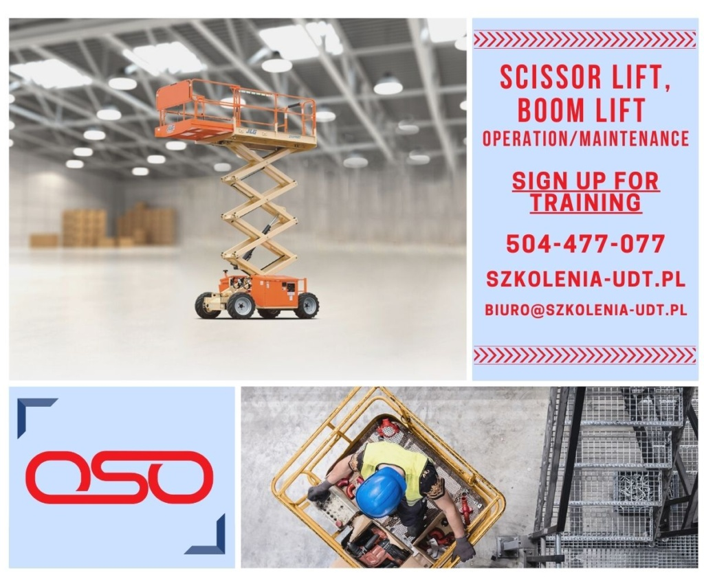 Boom lift (podnośnik koszowy) i scissor lift (podnośnik nożycowy) to urządzenia, których operatorzy pracują m.in. na platformach wiertniczych